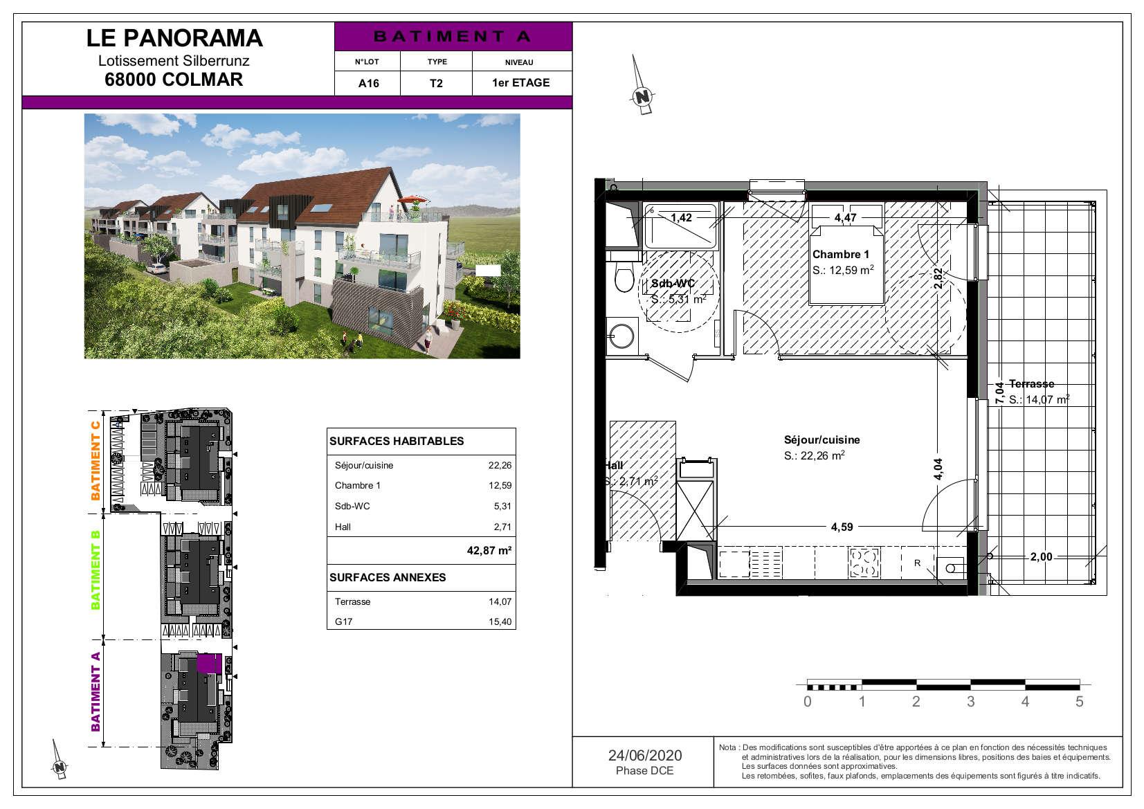 appartement 2 pièces terrasse 14 m² Colmar maraichers Lot A16