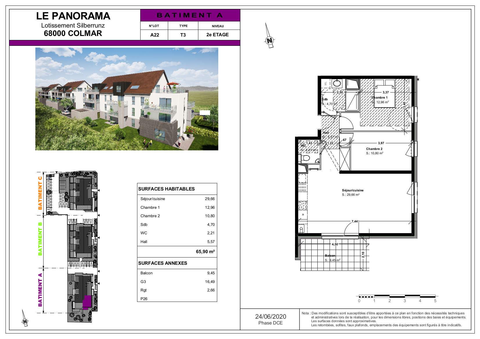 appartement 3 pièces terrasse sud Colmar maraichers lot A22