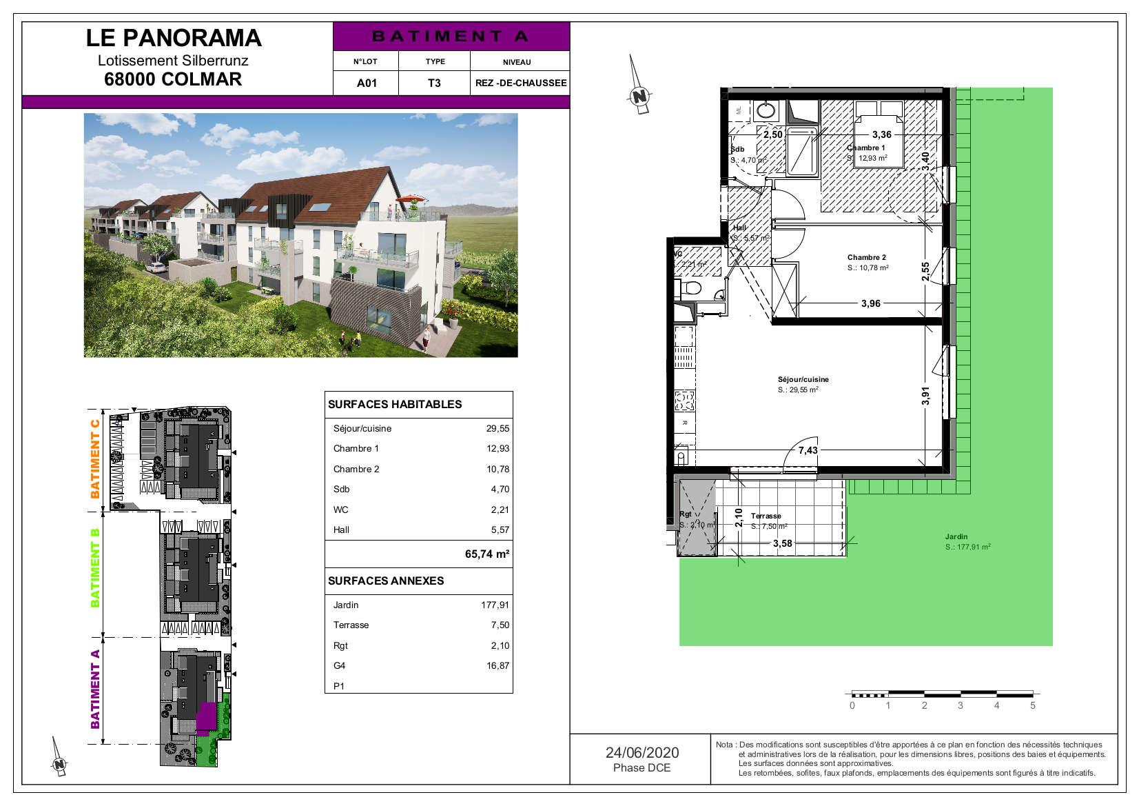 Appartement 3 pièces jardin privatif