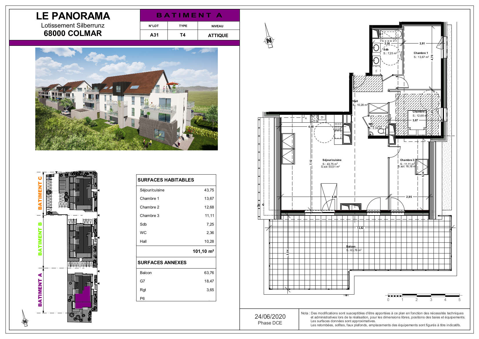 Attique F4 terrasse 64 m² Colmar maraichers